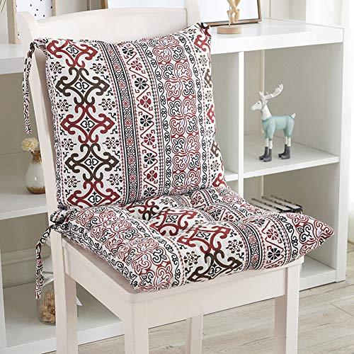 Ezoon Cojín para silla de comedor, cojín de respaldo con respaldo bajo, acolchado grueso para jardín, patio, almohadilla para silla desmontable