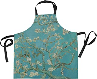 WIHVE Fashion Apron Van Gogh Branches of Almond Tree in Blossom Adjustable Apron with Pockets and Extra Long Ties, Machine Washable, 27.5x29 in