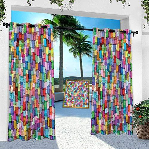 Cortina de patio al aire libre, abstracto, coloridos cuadrados cubos, ancho 132 cm x largo 213 cm panel de interior resistente para porche, balcón pérgola, toldo de carpa de campaña (1 panel)