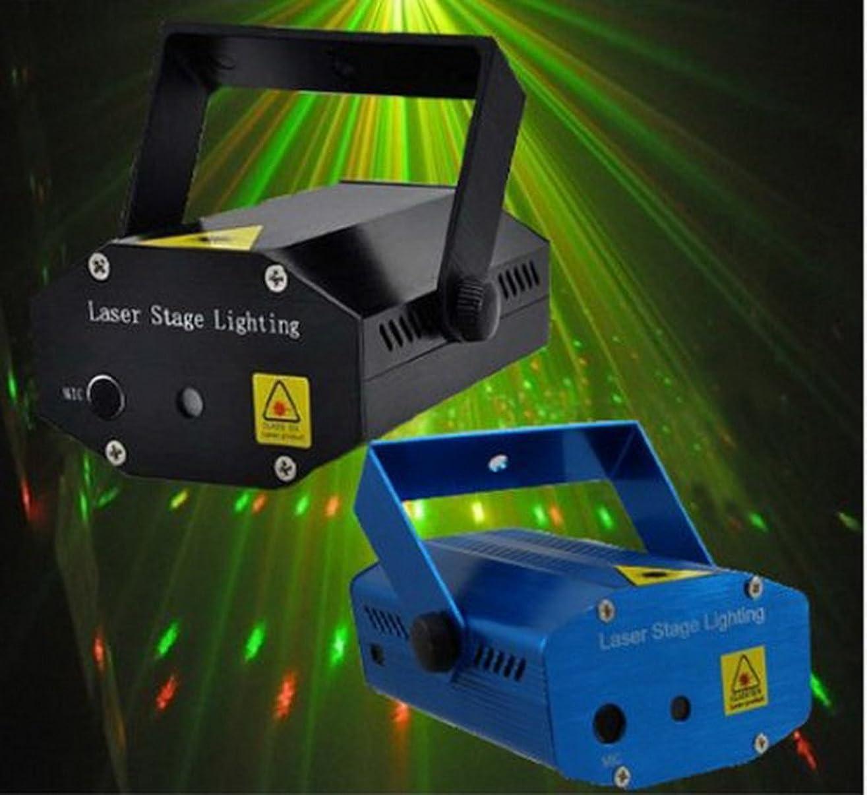 ボード角度揃えるLED DISCO DJ ステージライト ミニポータブルレーザーライト  ディスコライト?照明?演出/ 舞台照明 / RG  CE & RoHS (ブルー)