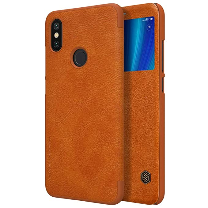 Nillkin Qin Series Ultra Thin Luxury Leather Window Flipcover for Xiaomi Mi A2/ 6X, 5.99 inch  Brown  Cases   Covers