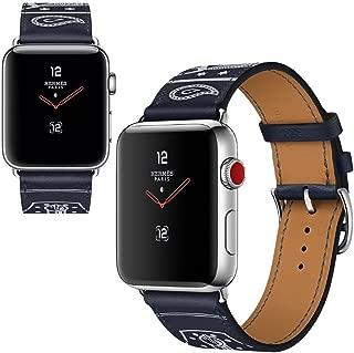 Vicstar Apple watch Series 3 42mm ベルト 交換バンド Apple watch 3 ベルト 高級レザー 本革バンド 金属クラスプ付き 上品 柔らか ビジネス風 脱着簡単 ブラック