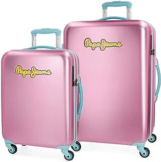Pepe Jeans Bristol Juego de maletas Rosa 55/67 cms Rígida Cierre TSA 101L 4 Ruedas Equipaje de Mano