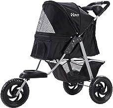 i.Pet 3 Wheels Pet Stroller Dog Cat Carrier Travel Foldable-Black