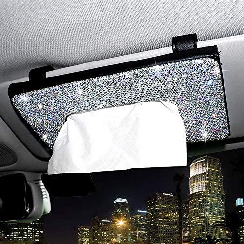 ChuLian Bling Bling Car Sun Visor Tissue Box Holder,Crystal Sparkling Napkin Holder,PU Leather Backseat Tissue Case Car Accessories for Women,Black