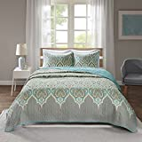 Comfort Spaces Paisley Design, Double Sided Quilting All Season, Lightweight, Coverlet Bedspread Bedding Set, Matching Shams, Full/Queen(90'x90'), Mona, Teal/Grey,CS14-0807
