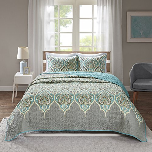 Comfort Spaces Mona 3 Piece Quilt Coverlet Bedspread Ultra Soft 100% Cotton Paisley Pattern Hypoallergenic Bedding Set, King/Cal King, Teal