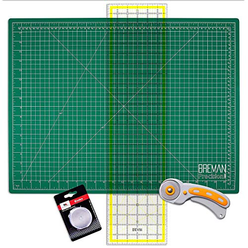 WA Portman Rotary Cutter Set - Rotary Fabric Cutter with 5 Extra Cutter Blades - 9x12 Inch Self Healing Cutting Mat - 6x24 Inch Quilting Ruler - Ideal Craft Supplies Set for Sewing and Quilting