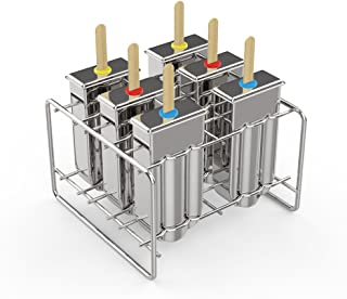 Kettio 6 pcs Stainless Steel Popsicle Ice Lolly Pop Mold, Ice Cream Mould with Stainless Steel Stick Holder Base Lolly Maker Set includes Silicone Funnel + Cleaning Brush + 30 Reusable Bamboo Sticks