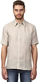 Colorplus Half Sleeve Regular Collar Classic Fit Medium Fawn Linen Solid Shirt for Men