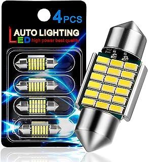 "AutoLite Led Festoon Bulbs 31mm 1.22"" DE3175 DE3021 DE3022, Super Bright Automotive Interior Car Light Bulbs, White 6000K ..."