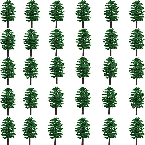 NW 30pcs 3.15inch Model Trees Model Train Scenery Architecture Trees Model Scenery with No Stands(30pcs All Green(3.15inch))