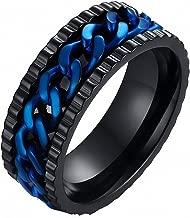 Amoreternal 8mm Men Fidget Spinner Ring with Blue Center Curb Chain Stainless Steel Rings