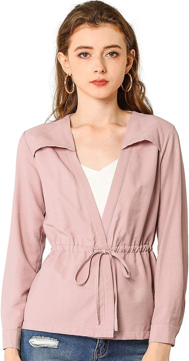 Allegra K Women's Casual Drawstring Waist Long Sleeve Solid Color Thin Lightweight Jacket Top
