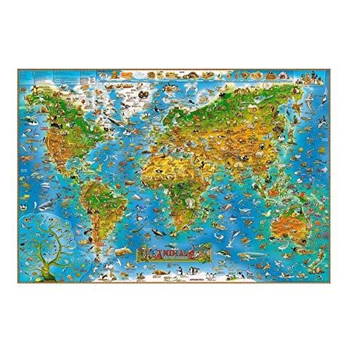 QY Adult 1000/1500/2000/3000/5000 World Map Puzzle Wood Children's Educational Toys Fun Geography Knowledge Wallpaper Decoration (Color : T1, Size : 5000pc)