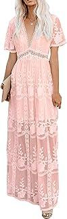 amropi Women's Elegant Deep V Neck Maxi Dress Long Bridesmaid Lace Dress S-XL