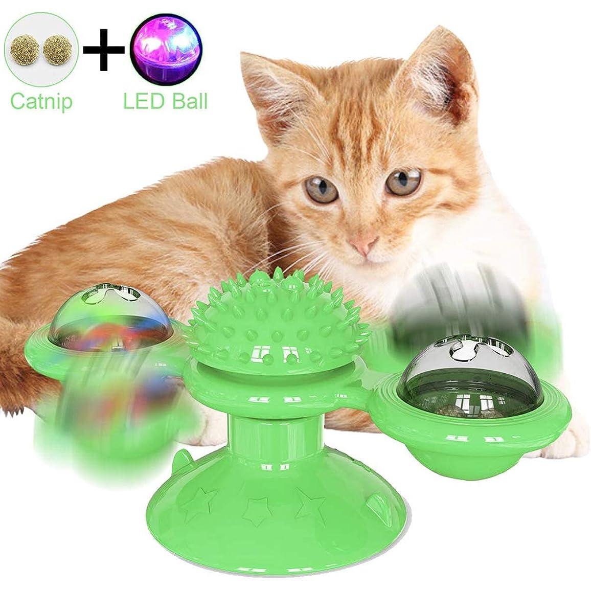 粘性の機密調整インタラクティブな猫のおもちゃ風車ターンテーブルからかう猫のおもちゃ吸引カップ付き回転式ターンテーブルインタラクティブ猫のおもちゃ傷をくすぐるヘアブラシ