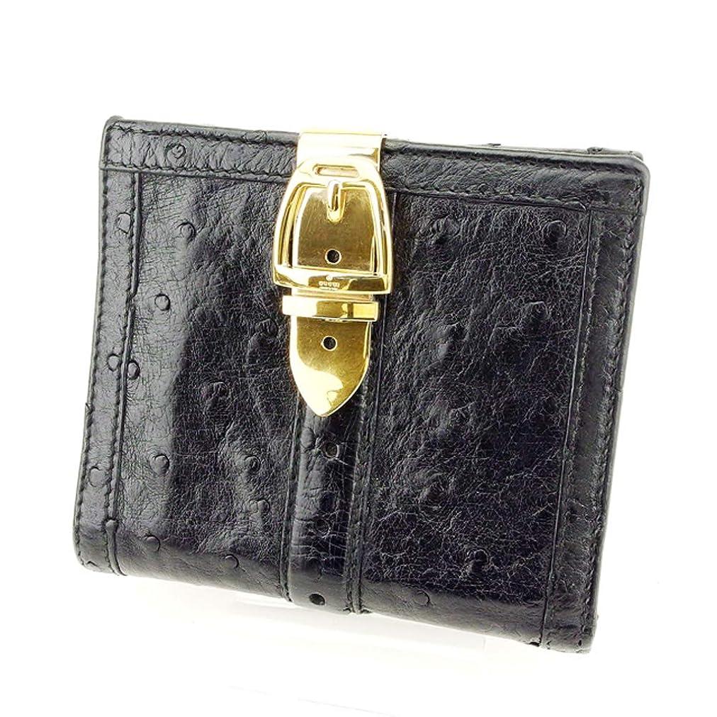 厚くするヘルパーハシー(グッチ) Gucci Wホック財布 二つ折り 財布 レディース メンズ オーストリッチ 中古 T8779