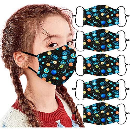 Honestyi 5 Stück Kindermäsk Kinder Mundschutz Niedlich Cartoons Bandana Loop Atmungsaktive Baumwolle Waschbar Halstuch Outdoor Anti-Staub Waschbar Mund-Nasenschutz