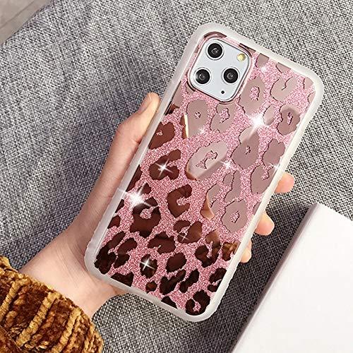 Shining Mirror Estuche para teléfono con estampado de leopardo para iPhone 11 Pro Max XR X XS Max 7 8 6 6S Plus Carcasa trasera con brillo dorado suave a prueba de golpes, T2, para iphone 12Pro Max