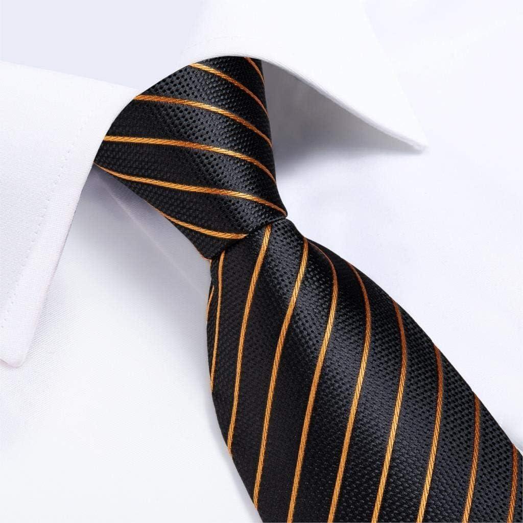 JIEIIFAFH Fashion Men Tie Luxury Gold Blue Black Striped Paisley Silk Wedding Tie Compatible with Men Designer Hanky Cufflinks Gift Tie Set
