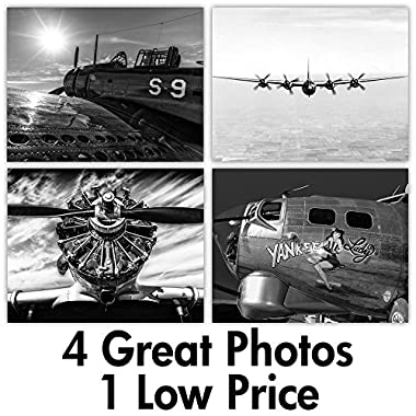 War Planes - Set of Four 11x14 Unframed Prints - Great Gift for History Buffs