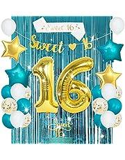 JOYMEMO Söta 16:e födelsedagsdekorationer för flickor turkos blå, blågrön och guldballonger, söt 16 banner & tårtdekoration, söt 16 satängband för sexton år gammal födelsedagsfest tillbehör
