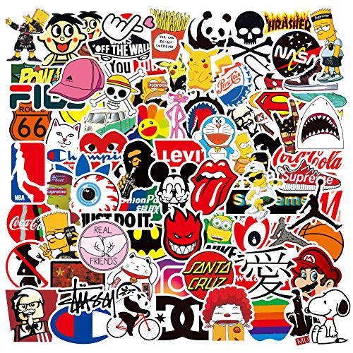 Waterproof Vinyl Decal Stickers for Skateboard Water Bottle Hydro Flask Laptop Computer Phone, Graffiti Hypebeast Cool Stickers Pack for Teens Adults, 100Pcs (Trendy Style)
