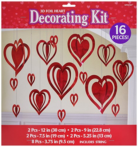 Amscan Valentine Red Foil 3-D Heart Hanging Kit, 16 Ct. | Party Decoration