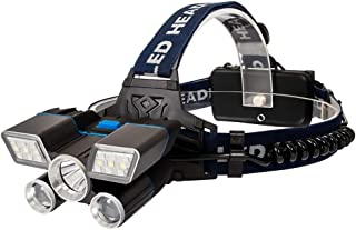 LED Headlamp Rechargeable [2019 Upgraded] 6000LM Ultra Bright LED Head Lamp with Power Indicator and USB, 9 Modes Waterproof work Headlight Best Headlamps for Hard Hat, Camping Hiking Hunting Outdoors