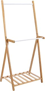 Amazon Basics - Burro para ropa de doble barra de bambú, natural