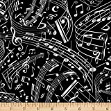 Timeless Treasures Swirling Music Notes, Black Yard