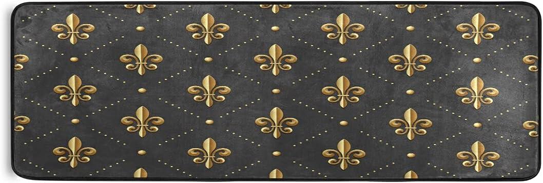 Gold Fleur De Lis Brand new Runner Rug Cheap super special price Bath Mats Laundry Door Rugs Kitchen