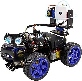 مجموعة سيارة روبوت ذكية UNO R3 من GoolRC تعمل بالواي فاي مع جهاز تحكم عن بعد، مجموعة تعليمية بالرياضيات والهندسة والرياضيا...