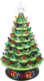 UNIFEEL 15in Pre-Lit Hand-Painted Ceramic Vintage Tabletop Artificial Christmas Tree Decor with 50 Multicolored Lights, Star Topper - Traditional Christmas Decoration Green