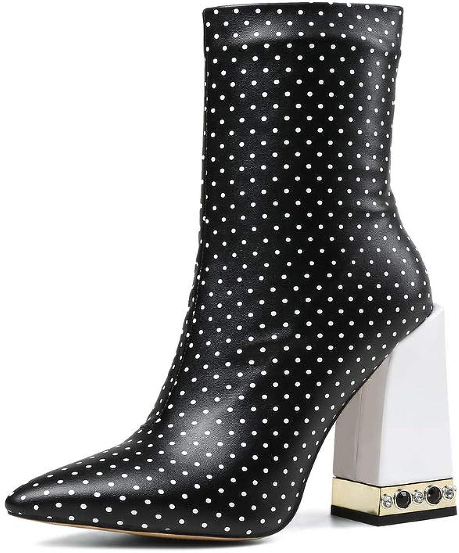 BalaMasa Womens Polka-Dots High-Heels Dance-Ballroom Urethane Boots ABM13009