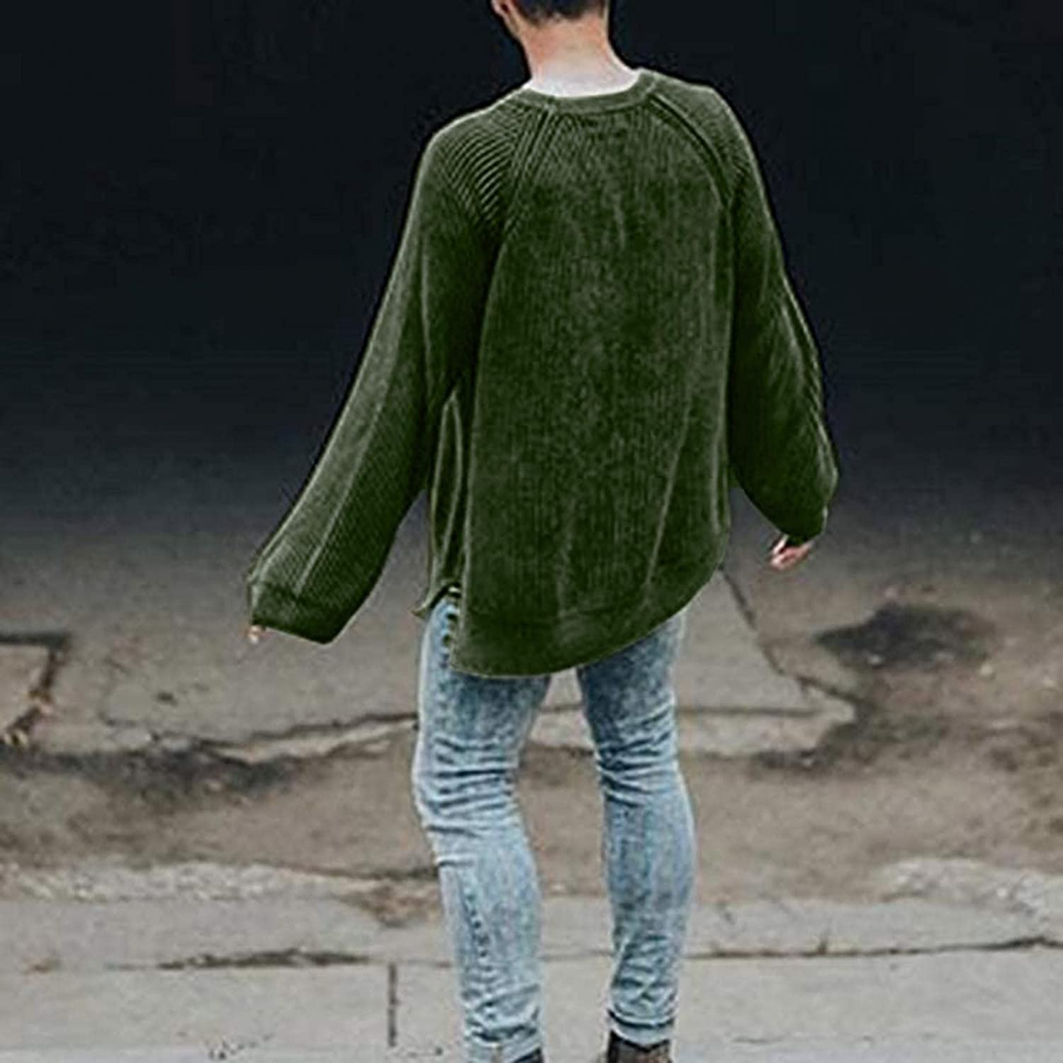 WUAI-Men Pullover Knitted Sweater Crewneck Stylish Knitwear Casual Slim Fit Warm Waffle Knit Thermal Pullover Jumper Tops