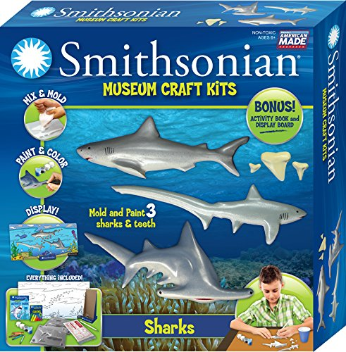 Smithsonian Sharks Perfect Cast Museum Cast Paint Display and Learn Craft Kit