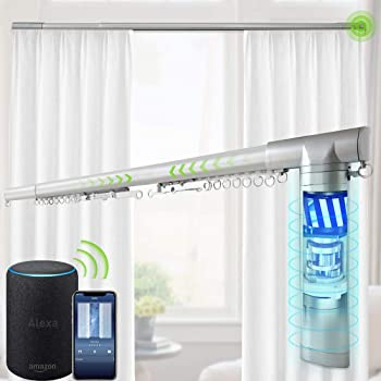 Yoolax Motorized Electric Curtain Rod Length Adjustable Remote Control Drape Rod Fit More Window Capable with Alexa No Need Adapter (61-98''W)
