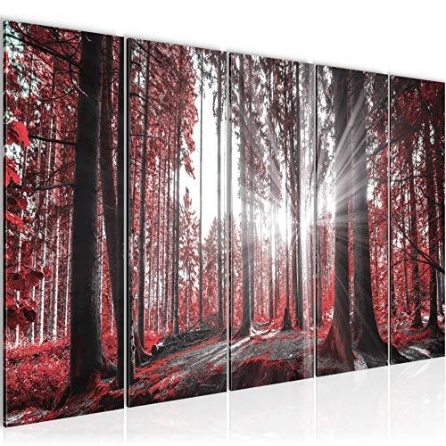 Bilder Wald Landschaft Wandbild 150 x 60 cm Vlies - Leinwand Bild XXL Format Wandbilder Wohnzimmer Wohnung Deko Kunstdrucke Rot 5 Teilig - MADE IN GERMANY - Fertig zum Aufhängen 503856c