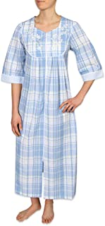 Miss Elaine Women's Long Seersucker Zipper Robe - with ¾ Sleeves, Round Yoke, and Two Inset Pockets