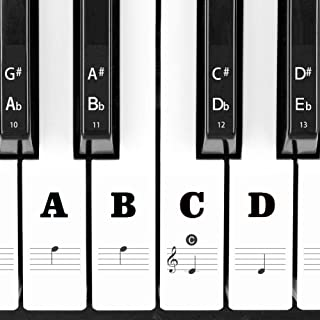 Piano Keyboard Stickers for 88/61/54/49/37 Key, Transparent and Removable Notes Label Leaves No Residue for Beginners and ...