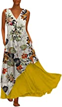 Women Plus Size Women Vintage Sleeveless V Neck Casual Daily Loose Splicing Floral Printed Maxi Dress