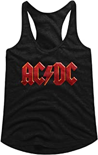 AC/DC Hard Rock Band Music Group Red Distressed Logo Womens Tank Top Tee