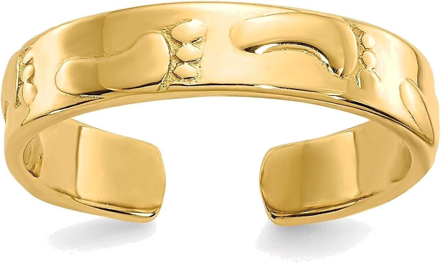 Bonyak Jewelry Footprints Toe Ring in 14K Yellow Gold in Size 11