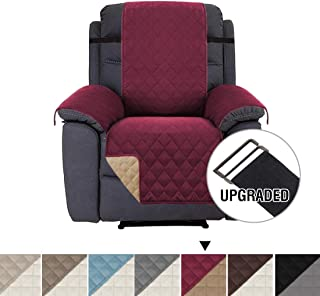 H.VERSAILTEX Reversible Sofa Slipcover Water Repellent Sofa Cover Couch Covers for Dogs Furniture Protector, 2 Inch Wide Elastic Straps Anti-Slip Couch Slipcover (Recliner: Burgundy/Tan)