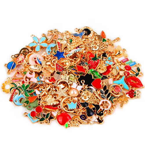 SANNIX 170Pcs Jewelry Making Charms Assorted Gold Plated Enamel Necklace Bracelet Charms Pendants for DIY Jewelry Making