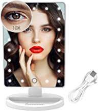FUNTOUCH Lighted Makeup Mirror with 21 LED Lights, Makeup Vanity Mirror with Touch Screen Dimming, Detachable 10X Magnification Clarity Cosmetic Mirror USB or Battery Dual Power Supply(White)