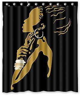 KXMDXA Waterproof Bathroom African Woman Shower Curtain Polyester Fabric Shower Curtain 60 X 72 inch