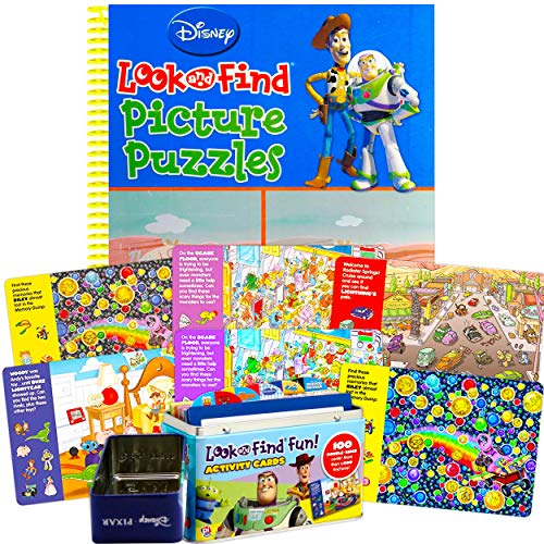 Disney Pixar Travel Puzzle Cards in Collectible Tin and Picture Search Book for Children Bundle Set ~ Featuring Toy Story  Disney Cars  and More (Disney Picture Puzzle Books).